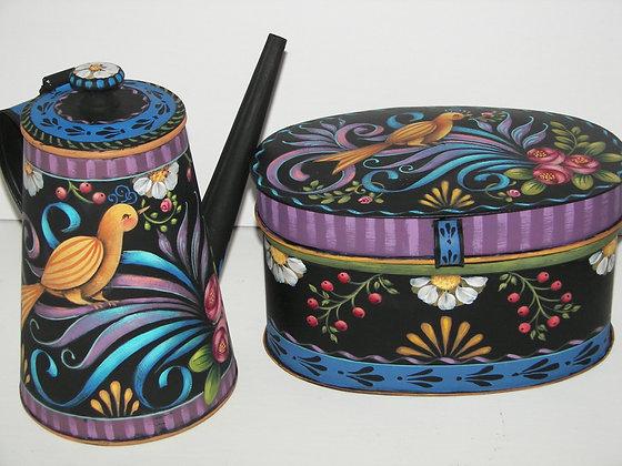 Folk Art Tin Coffee Pot & Trinket Box 172