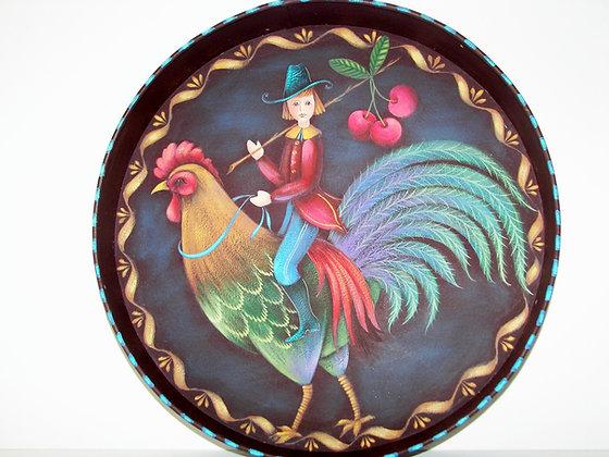 Folk Art Rooster Tray 156