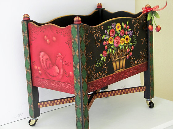 Red Roses, Cherries & Rooster Magazine Holder 224