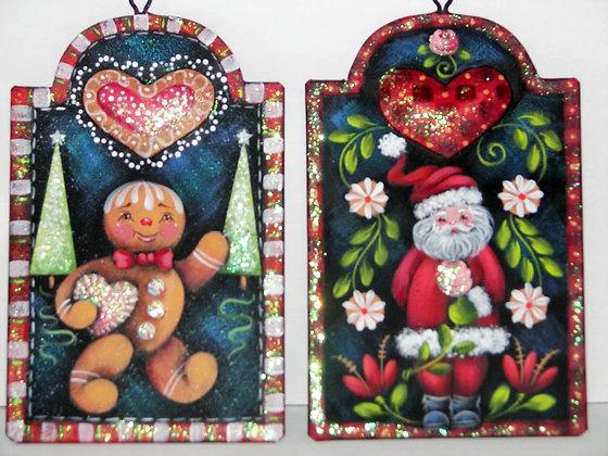 Folk Art Santa & Gingerbread Ornaments 191