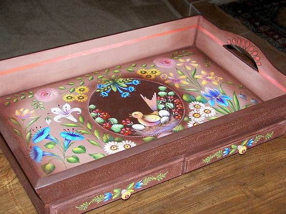 2 Drawer Tray w/Flowers 209