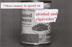 baked beans, alcohol and cigarettes