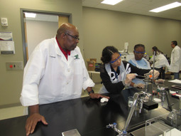 Davis assisting students in lab
