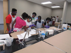 Lab group working on experiment