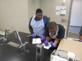 Students conducting field tests
