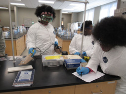 Students searching for radioactive materials