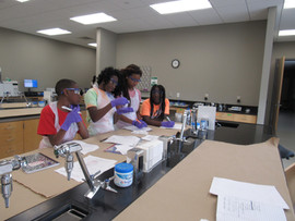 Students working as a group during experiment