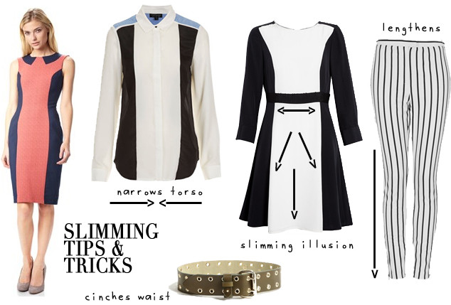 Slimming Tips & Tricks by Color Block and Stripe patterns.