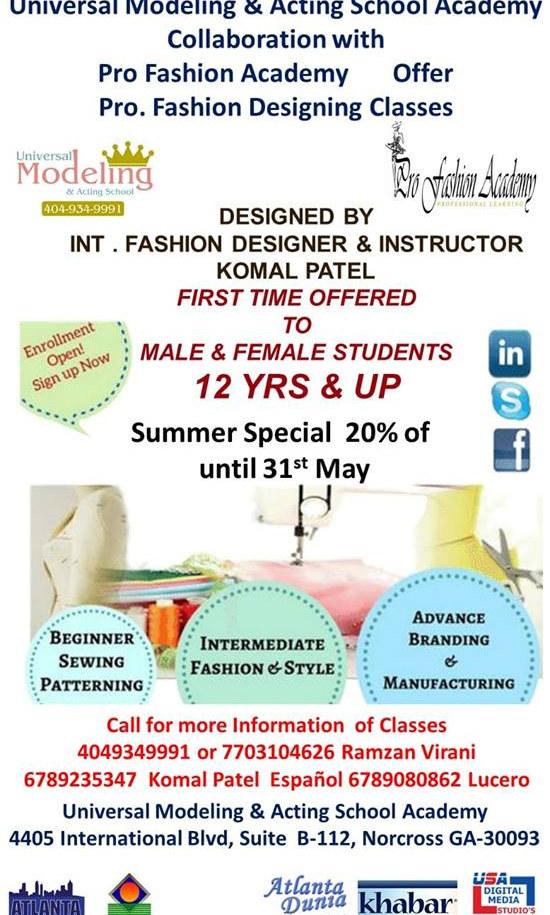 Universal Modeling & Acting Academy Enrollment Flyer