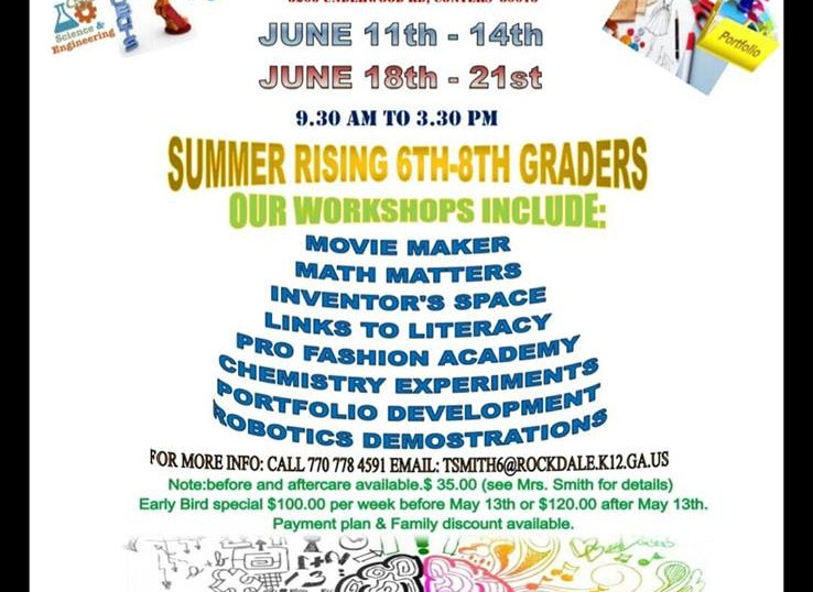 STEAM Summer Camp Memorial Middle School Flyer