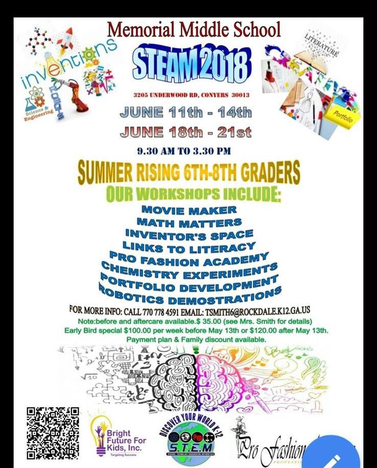 STEAM Summer Camp Memorial Middle School Flyer