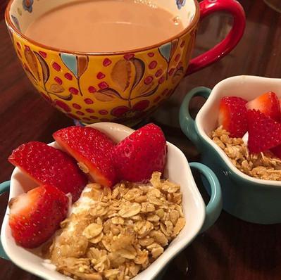 Healthy breakfast with English tea