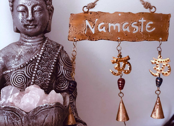 Namaste Metal Sign with Chimes