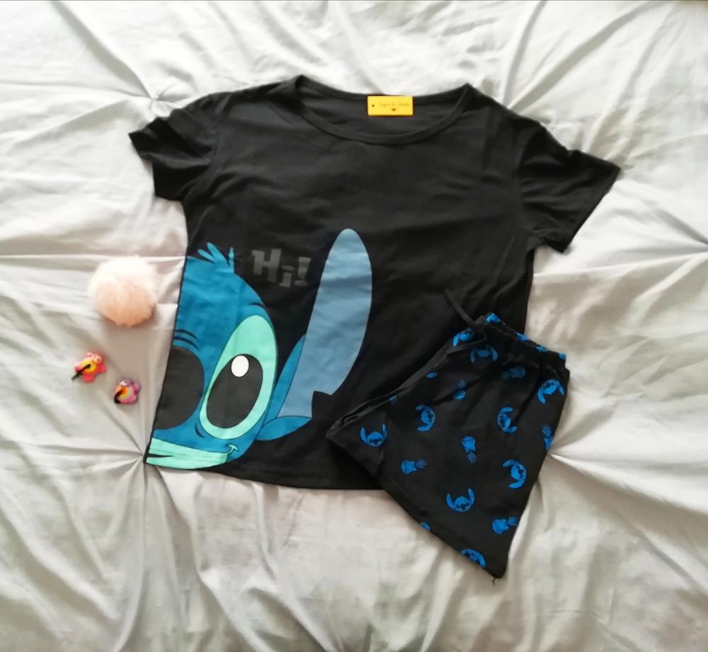 Pijama stitch pantalon corto y remera corta de mujer | Pijamas ramos mejia | Sigue tu sueño
