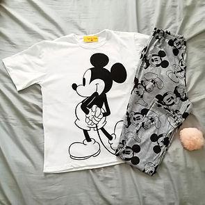 Pijama de mujer mickey blanco y gris