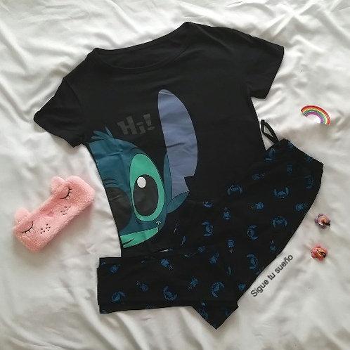 Pijama mujer stitch negro