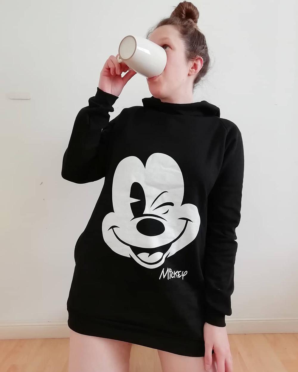 Buzo grande mickey color negro | buzos de mickey mouse para mujer