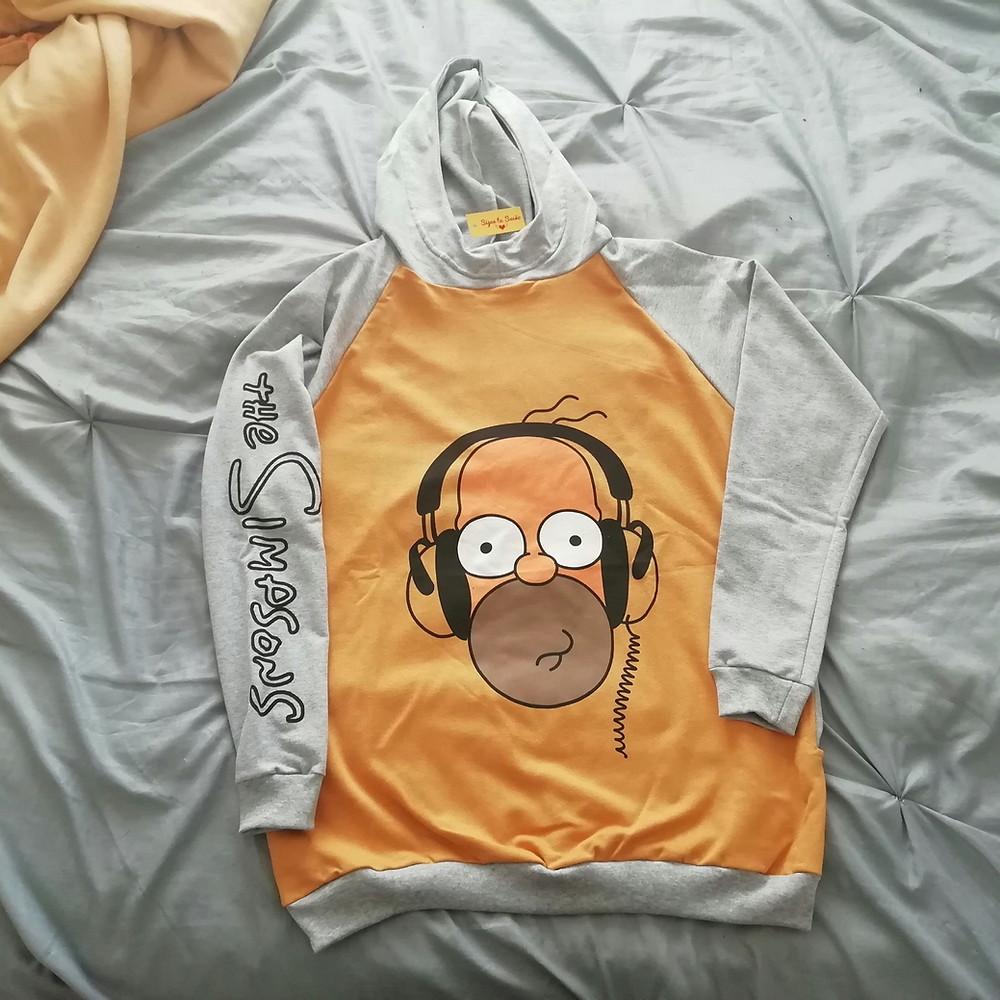 Buzo gran de Homero simpson color amarillo con gris melange | maxi buzos mujer