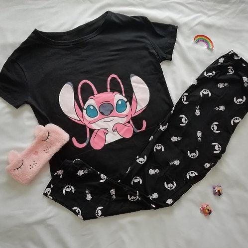 Pijama mujer stitch pinky negro