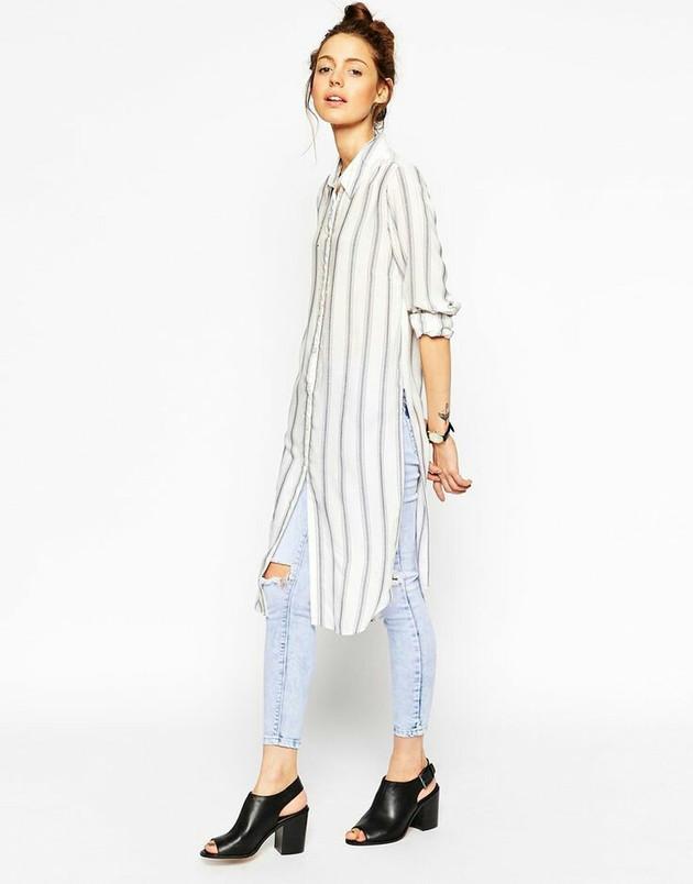 Camisa larga rallada con jean