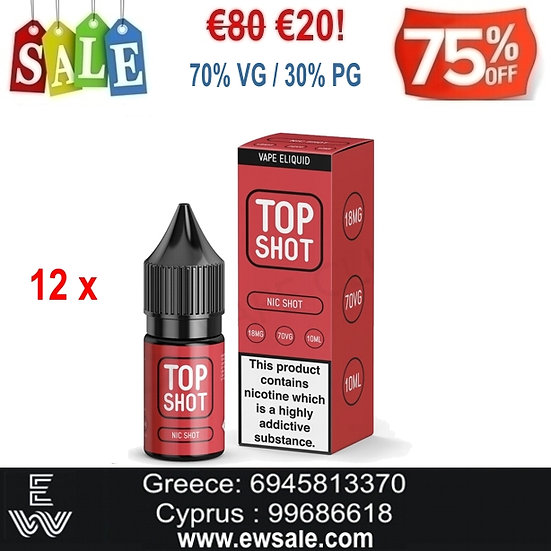 12x10 ml High VG Top Shot Booster Ατμιστικής νικοτίνης