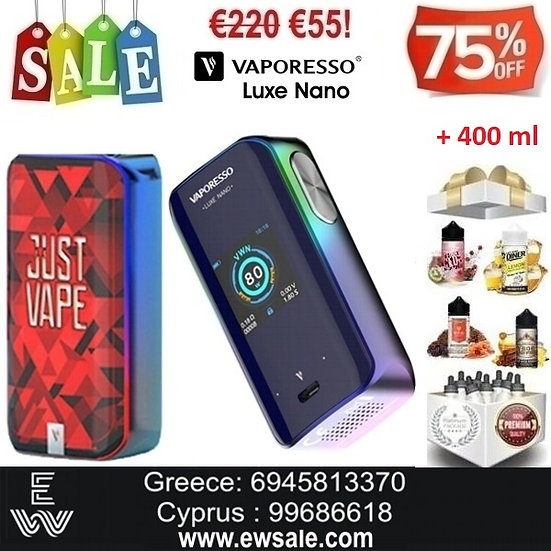 Vaporesso Luxe Nano Mod αφής ηλεκτρονικού τσιγάρου + 400ml Υγρά άτμισης