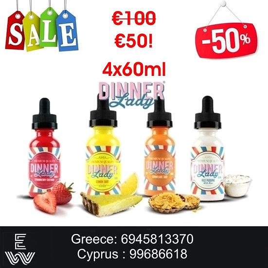 4x60 ml Dinner Lady Vape e-juice - Υγρά αναπλήρωσης