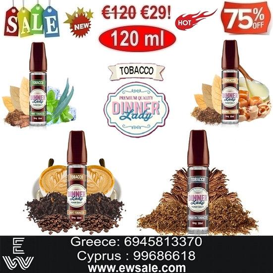 120 ml Dinner Lady Tobacco Υγρά Αναπλήρωσης, άτμισης Ηλεκτρονικού Τσιγάρο