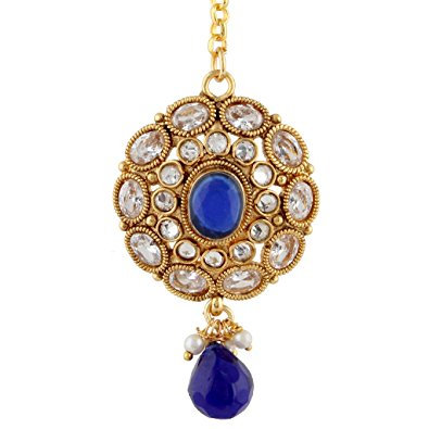 BLUE Flower AD Stone Mang Tikka Hair Bor India Jewelry