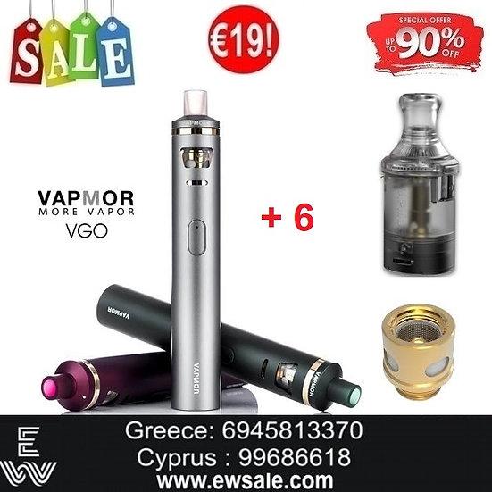Vapmor VGO Kit Ηλεκτρονικά Τσιγάρα + 6 Αντιστάσεις & Ανταλλακτικά Pods