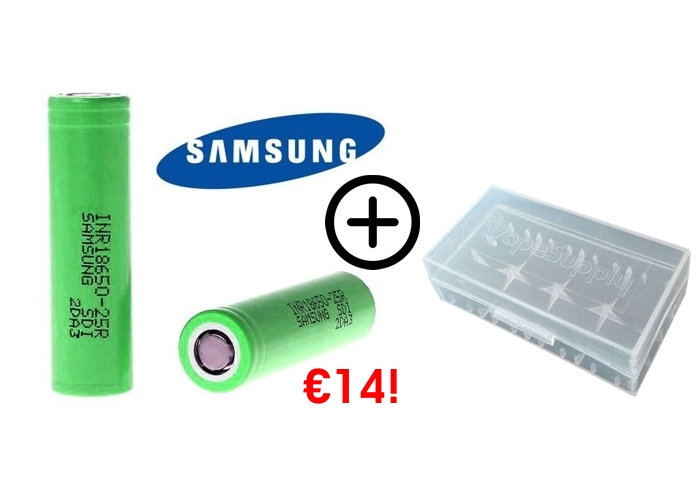2 Samsung 18650 Vape Mod Batteries + case