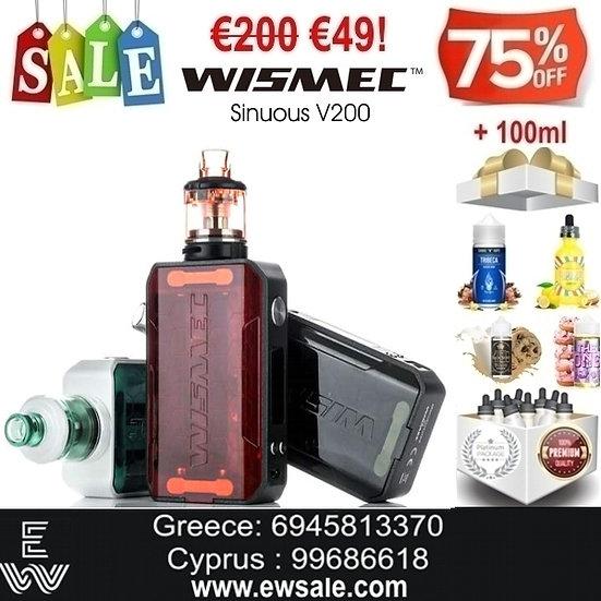 WISMEC Sinuous V200 3ml 200W Kit Ηλεκτρονικά Τσιγάρα + 100ml Υγρά άτμισης