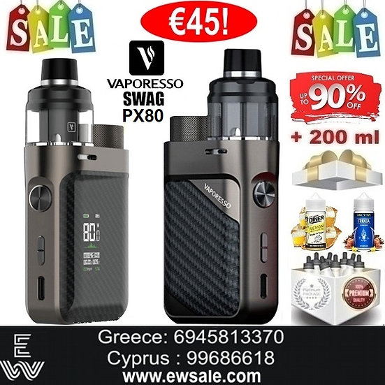 Vaporesso Swag PX80 KITΗλεκτρονικό Τσιγάρο + 200 ml Υγρά Αναπλήρωσης
