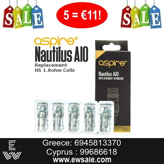 5 x Aspire Nautilus AIO Ανταλλακτικές κεφαλές - αντιστάσεις