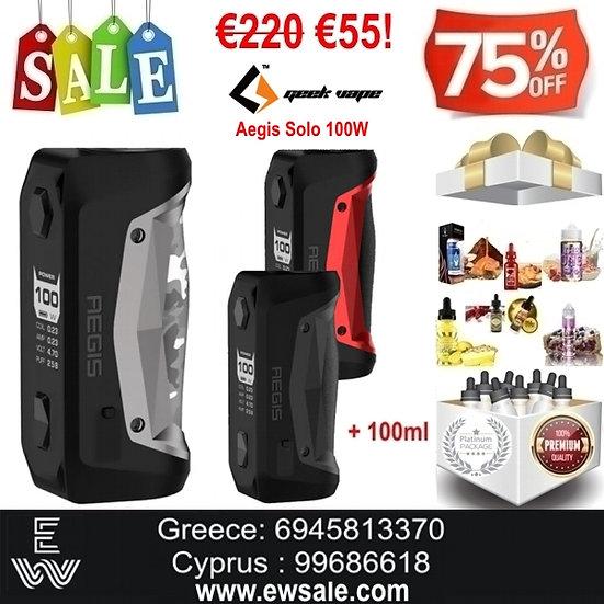 GeekVape Aegis Solo 100W Mod ηλεκτρονικού τσιγάρου + 100ml Υγρά άτμισης