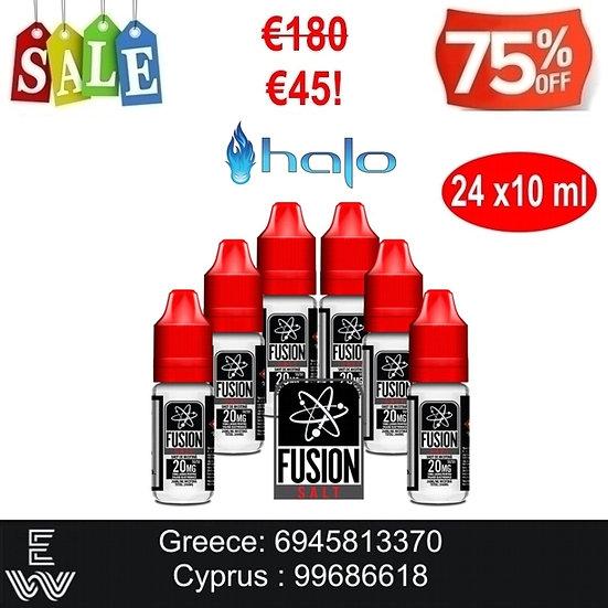 24x10 ml HALO FUSION Nic Salt άλατα νικοτίνης 20 mg