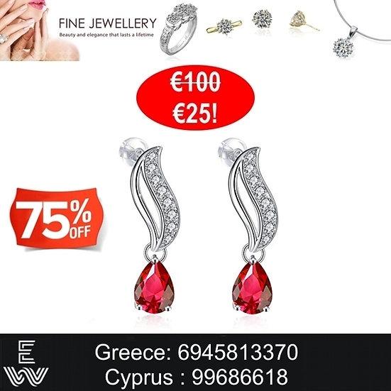 Kρεμαστά σκουλαρίκια J.Rosée από ασήμι 925 διακοσμημένα μεCubic Zirconia