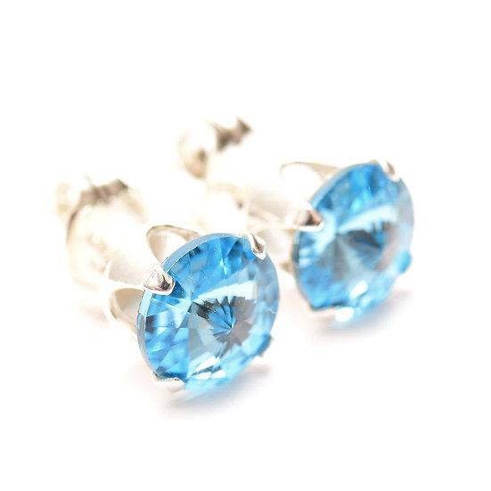 SWAROVSKI Aquamarine Blue crystal, Sterling Silver stud earrings