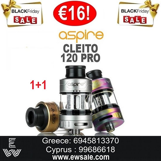 1+1 (2) ASPIRE Cleito 120 Pro ατμοποιητής ηλεκτρονικού τσιγάρου