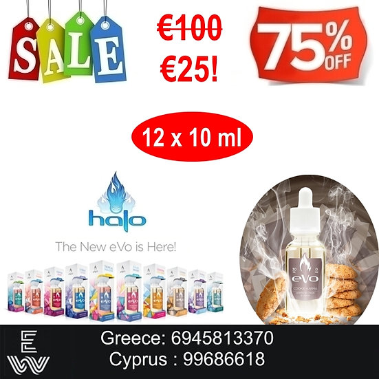 12x10 (120 ml) Halo Evo Cookie Karma Platinum Υγρά Αναπλήρωσης