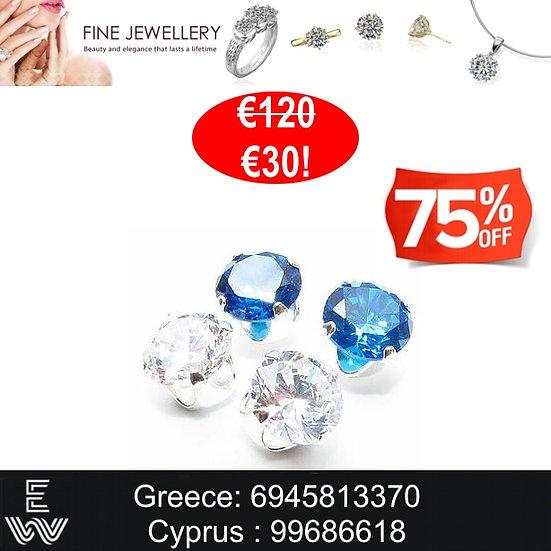 1+1 Σκουλαρίκια SWAROVSKI Diamond & Swiss Blue crystals, Earrings