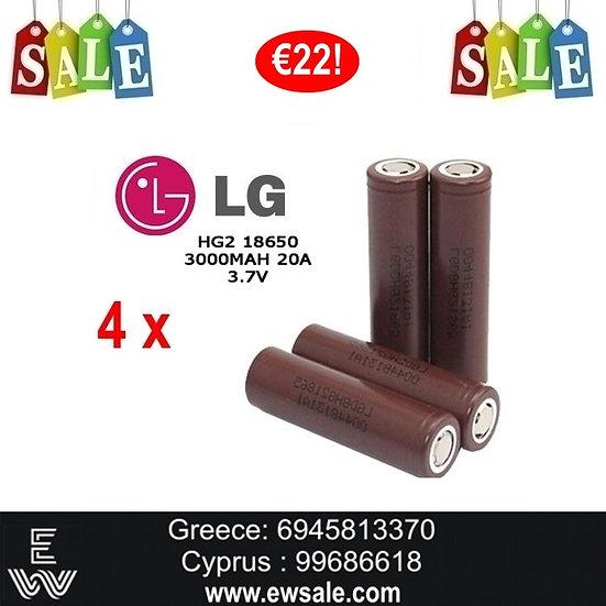 4 x LG HG2 18650 3000mAh Li-Ion Battery 20A - ΜΠΑΤΑΡΙΕΣ ΓΙΑ MODS