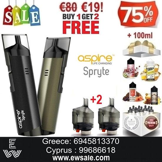 1+2 Aspire Spryte AIO Ηλεκτρονικό Τσιγάρο + 2 pods + 100ml Υγρά άτμισης