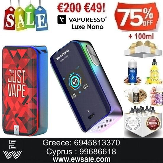Vaporesso Luxe Nano 80W Mod αφής ηλεκτρονικού τσιγάρου + 100ml Υγρά άτμισης