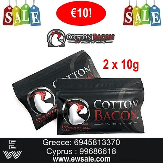 2 x Wick N Vape Cotton Bacon V2.0 10G βαμβάκι αντίστασης ηλεκτρονικού τσιγάρου