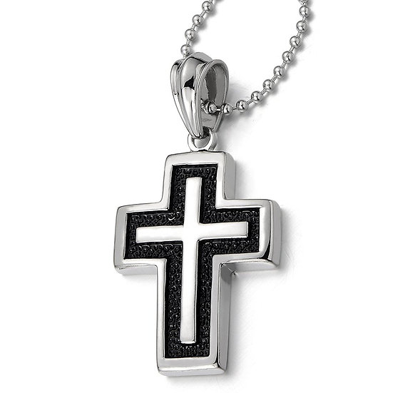 Stainless Steel Men's Cross Pendant Necklace Silver Black Two-tone