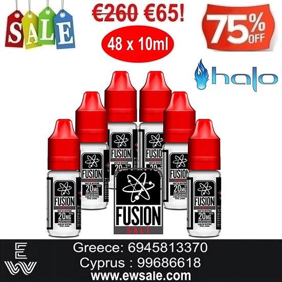 48 x 10 ml HALO FUSION Nic Salt άλατα νικοτίνης 20 mg