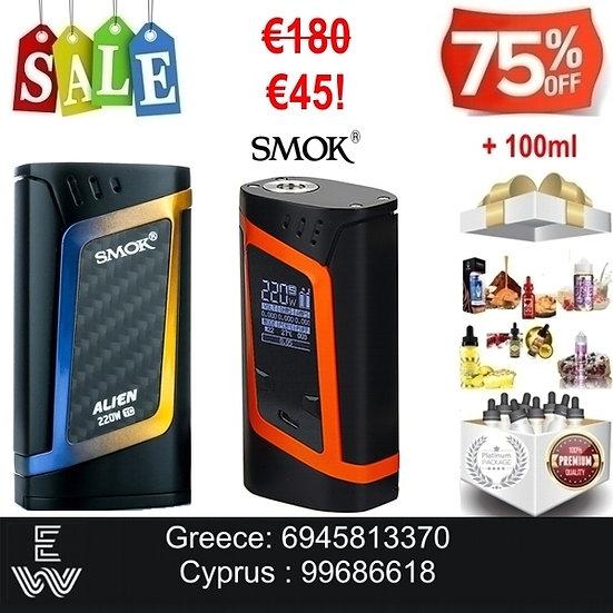SMOK Alien 220w Mod Ηλεκτρονικό Τσιγάρο + 100 ml Δημοφιλή Υγρά άτμισης