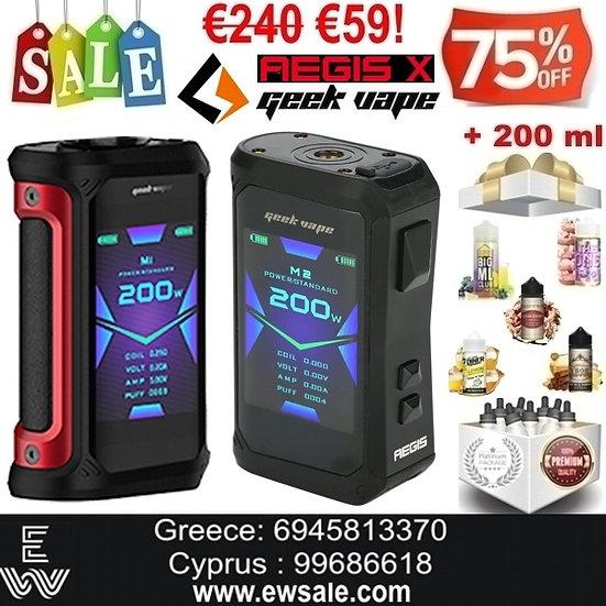 Geek Vape Aegis X 200W Mods ηλεκτρονικού τσιγάρου + 200ml Υγρά άτμισης