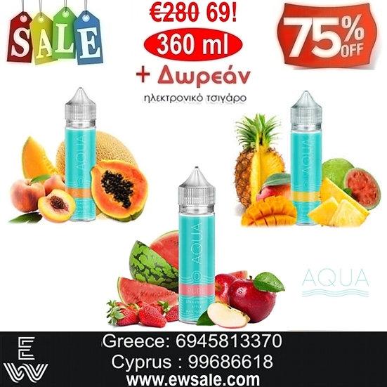 360 Aqua Υγρά άτμισης + Δωρεάν Ηλεκτρονικά Τσιγάρα